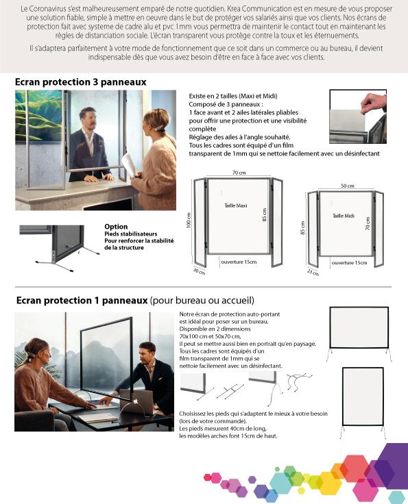 Ecran protection coronavirous 3 panneaux et 1 panneau